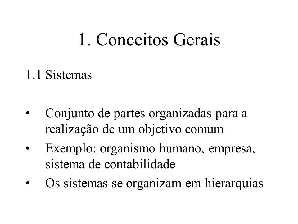 1. Conceitos Gerais 1.1Sistemas Conjunto de partes organizadas para a realização de um objetivo comum Exemplo: organismo humano, empresa, sistema de c