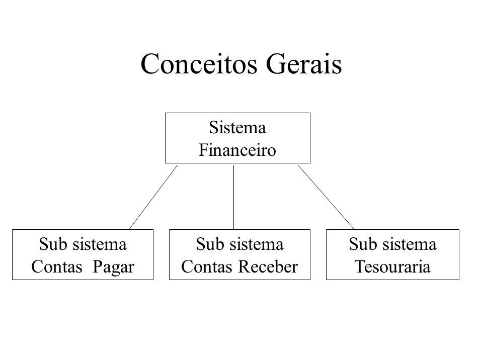 Conceitos Gerais Sistema Financeiro Sub sistema Contas Pagar Sub sistema Contas Receber Sub sistema Tesouraria