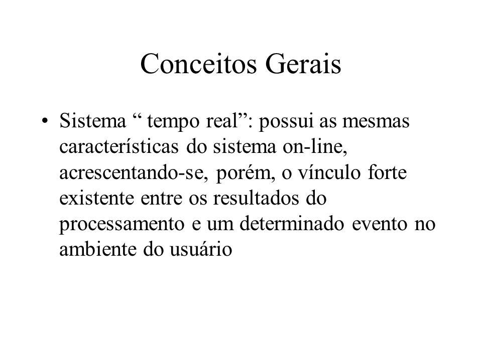 Sistema tempo real: possui as mesmas características do sistema on-line, acrescentando-se, porém, o vínculo forte existente entre os resultados do processamento e um determinado evento no ambiente do usuário Conceitos Gerais