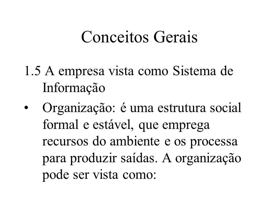 Conceitos Gerais 1.5 A empresa vista como Sistema de Informação Organização: é uma estrutura social formal e estável, que emprega recursos do ambiente e os processa para produzir saídas.