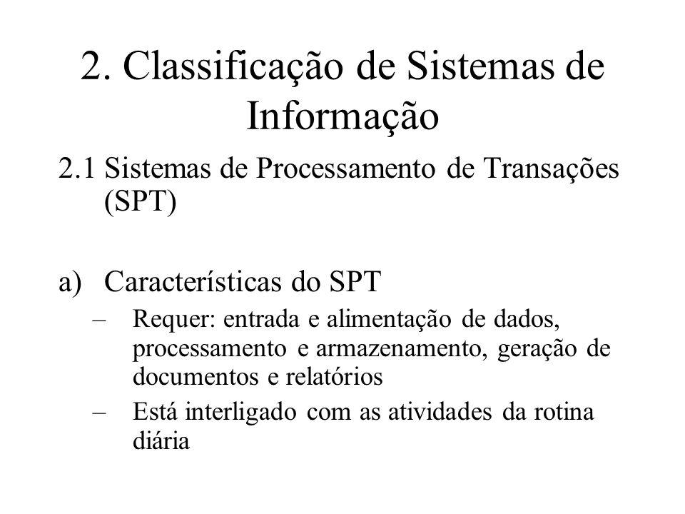 2. Classificação de Sistemas de Informação 2.1Sistemas de Processamento de Transações (SPT) a)Características do SPT –Requer: entrada e alimentação de