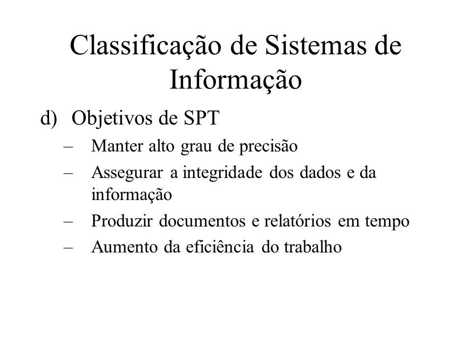 d)Objetivos de SPT –Manter alto grau de precisão –Assegurar a integridade dos dados e da informação –Produzir documentos e relatórios em tempo –Aumento da eficiência do trabalho Classificação de Sistemas de Informação