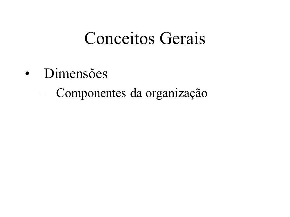 Conceitos Gerais Dimensões –Componentes da organização