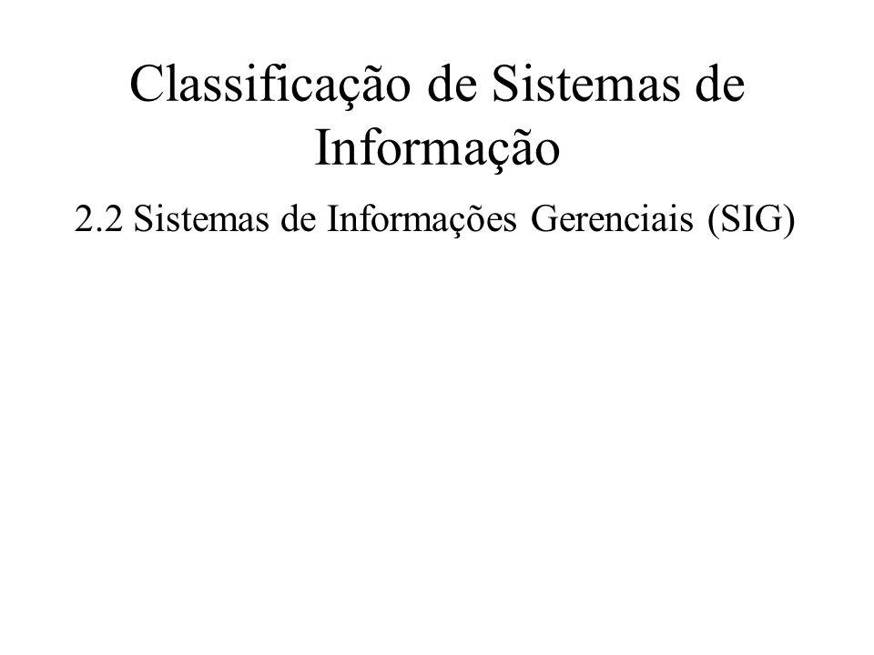 Classificação de Sistemas de Informação 2.2Sistemas de Informações Gerenciais (SIG)