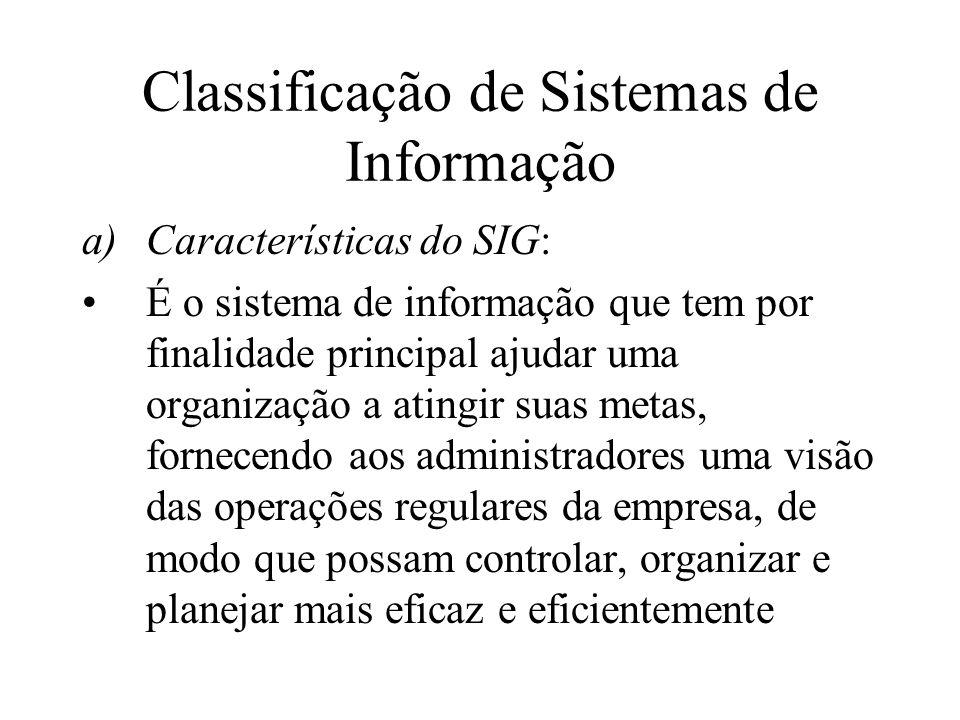 Classificação de Sistemas de Informação a)Características do SIG: É o sistema de informação que tem por finalidade principal ajudar uma organização a atingir suas metas, fornecendo aos administradores uma visão das operações regulares da empresa, de modo que possam controlar, organizar e planejar mais eficaz e eficientemente