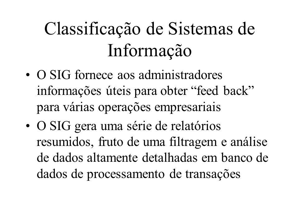 O SIG fornece aos administradores informações úteis para obter feed back para várias operações empresariais O SIG gera uma série de relatórios resumidos, fruto de uma filtragem e análise de dados altamente detalhadas em banco de dados de processamento de transações Classificação de Sistemas de Informação