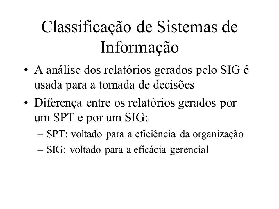 A análise dos relatórios gerados pelo SIG é usada para a tomada de decisões Diferença entre os relatórios gerados por um SPT e por um SIG: –SPT: voltado para a eficiência da organização –SIG: voltado para a eficácia gerencial Classificação de Sistemas de Informação