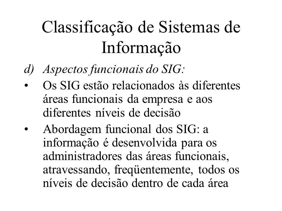 d)Aspectos funcionais do SIG: Os SIG estão relacionados às diferentes áreas funcionais da empresa e aos diferentes níveis de decisão Abordagem funcional dos SIG: a informação é desenvolvida para os administradores das áreas funcionais, atravessando, freqüentemente, todos os níveis de decisão dentro de cada área Classificação de Sistemas de Informação