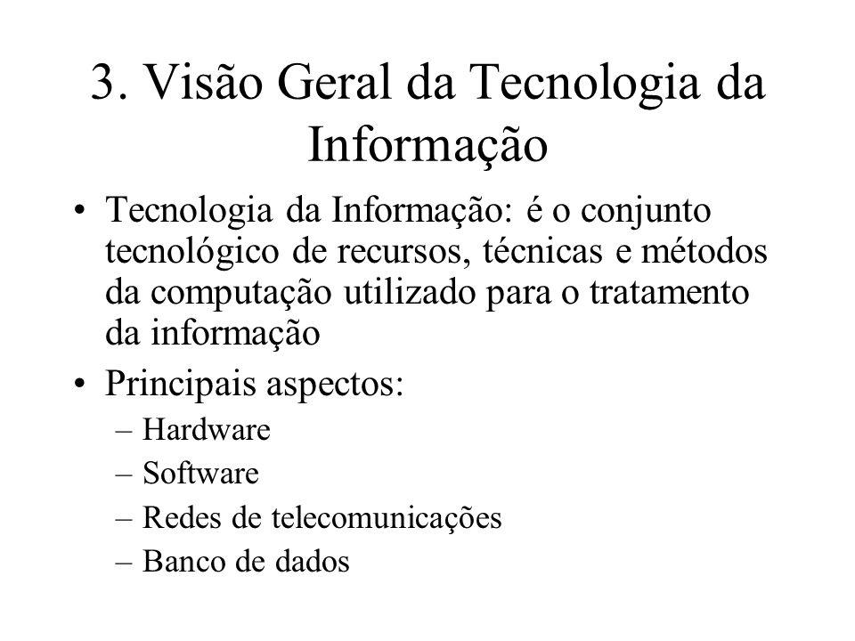 3. Visão Geral da Tecnologia da Informação Tecnologia da Informação: é o conjunto tecnológico de recursos, técnicas e métodos da computação utilizado