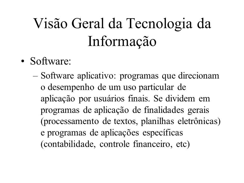 Software: –Software aplicativo: programas que direcionam o desempenho de um uso particular de aplicação por usuários finais.
