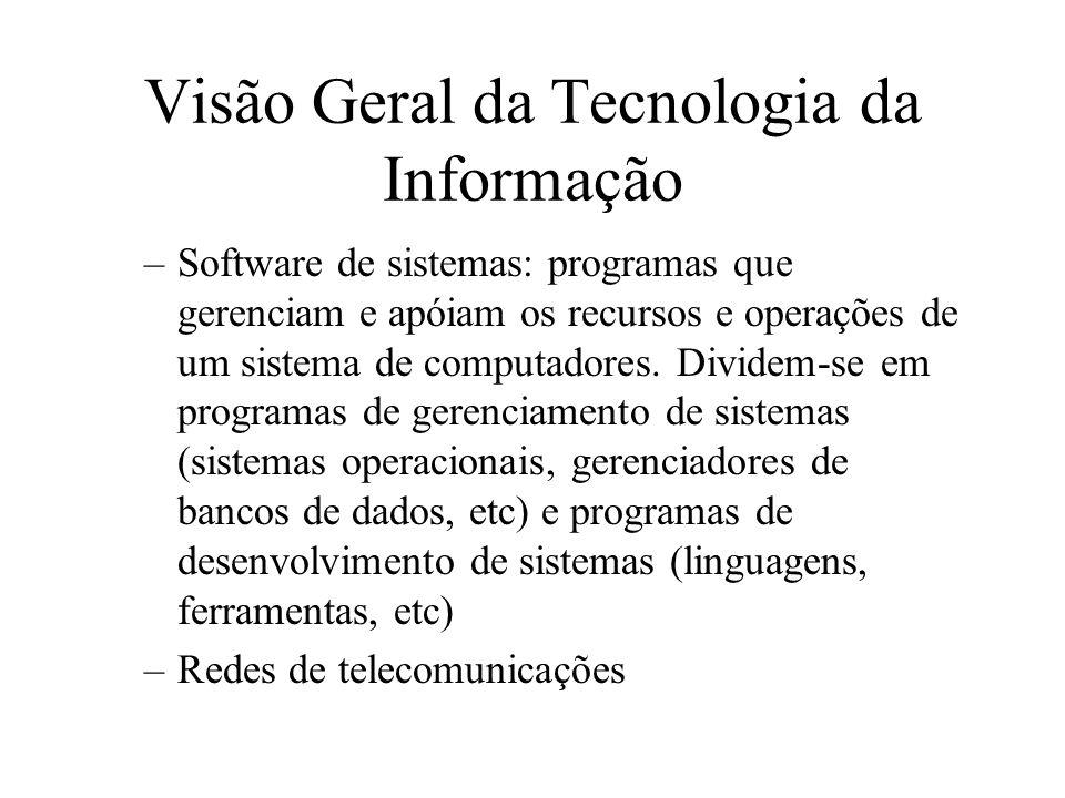 –Software de sistemas: programas que gerenciam e apóiam os recursos e operações de um sistema de computadores.