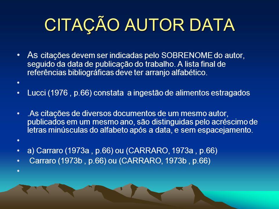 CITAÇÃO AUTOR DATA As citações devem ser indicadas pelo SOBRENOME do autor, seguido da data de publicação do trabalho. A lista final de referências bi