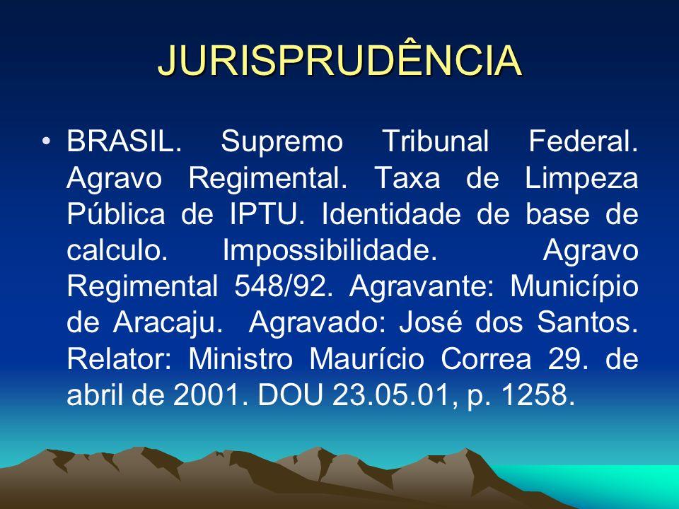 JURISPRUDÊNCIA BRASIL. Supremo Tribunal Federal. Agravo Regimental. Taxa de Limpeza Pública de IPTU. Identidade de base de calculo. Impossibilidade. A