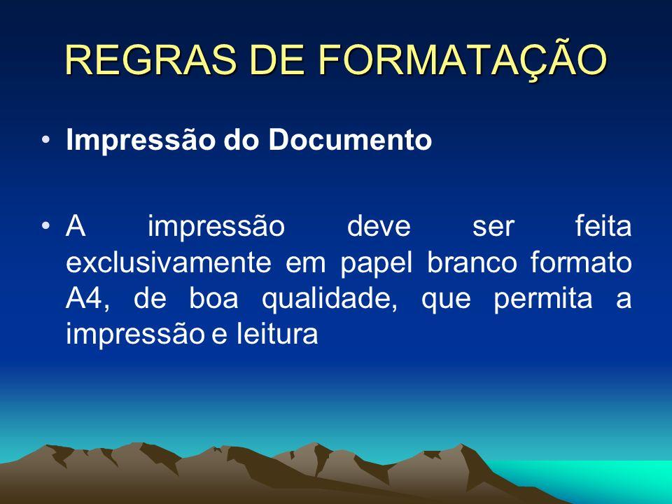 REGRAS DE FORMATAÇÃO Impressão do Documento A impressão deve ser feita exclusivamente em papel branco formato A4, de boa qualidade, que permita a impr