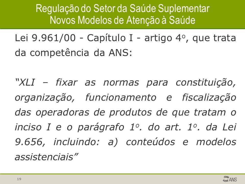 19 Regulação do Setor da Saúde Suplementar Novos Modelos de Atenção à Saúde Lei 9.961/00 - Capítulo I - artigo 4 o, que trata da competência da ANS: X