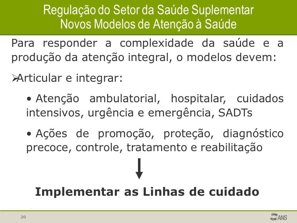 20 Para responder a complexidade da saúde e a produção da atenção integral, o modelos devem: Articular e integrar: Atenção ambulatorial, hospitalar, c