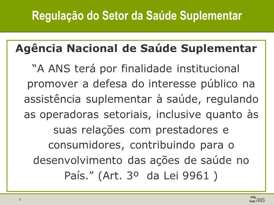 6 Regulação do Setor da Saúde Suplementar Agência Nacional de Saúde Suplementar A ANS terá por finalidade institucional promover a defesa do interesse