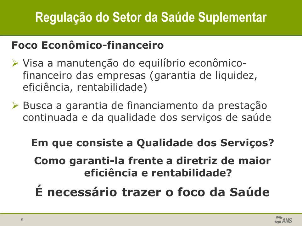 8 Regulação do Setor da Saúde Suplementar Foco Econômico-financeiro Visa a manutenção do equilíbrio econômico- financeiro das empresas (garantia de li