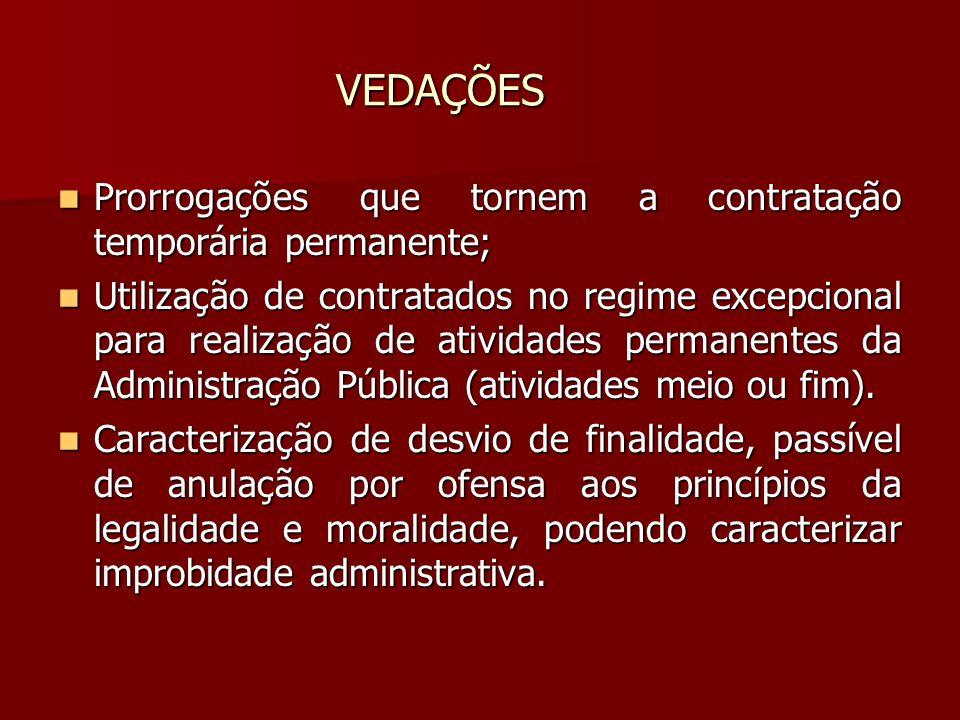 VEDAÇÕES Prorrogações que tornem a contratação temporária permanente; Prorrogações que tornem a contratação temporária permanente; Utilização de contr
