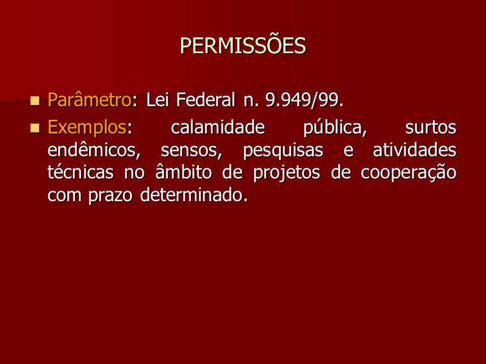 PERMISSÕES Parâmetro: Lei Federal n. 9.949/99. Parâmetro: Lei Federal n. 9.949/99. Exemplos: calamidade pública, surtos endêmicos, sensos, pesquisas e