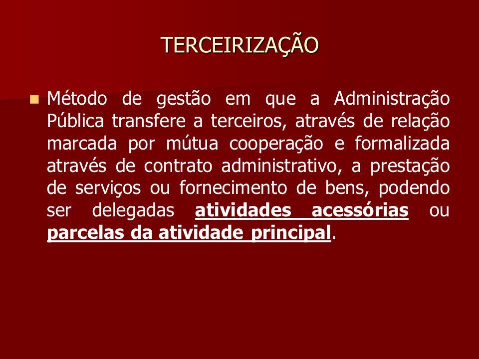 TERCEIRIZAÇÃO Método de gestão em que a Administração Pública transfere a terceiros, através de relação marcada por mútua cooperação e formalizada atr