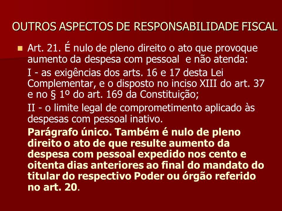 OUTROS ASPECTOS DE RESPONSABILIDADE FISCAL Art. 21. É nulo de pleno direito o ato que provoque aumento da despesa com pessoal e não atenda: I - as exi