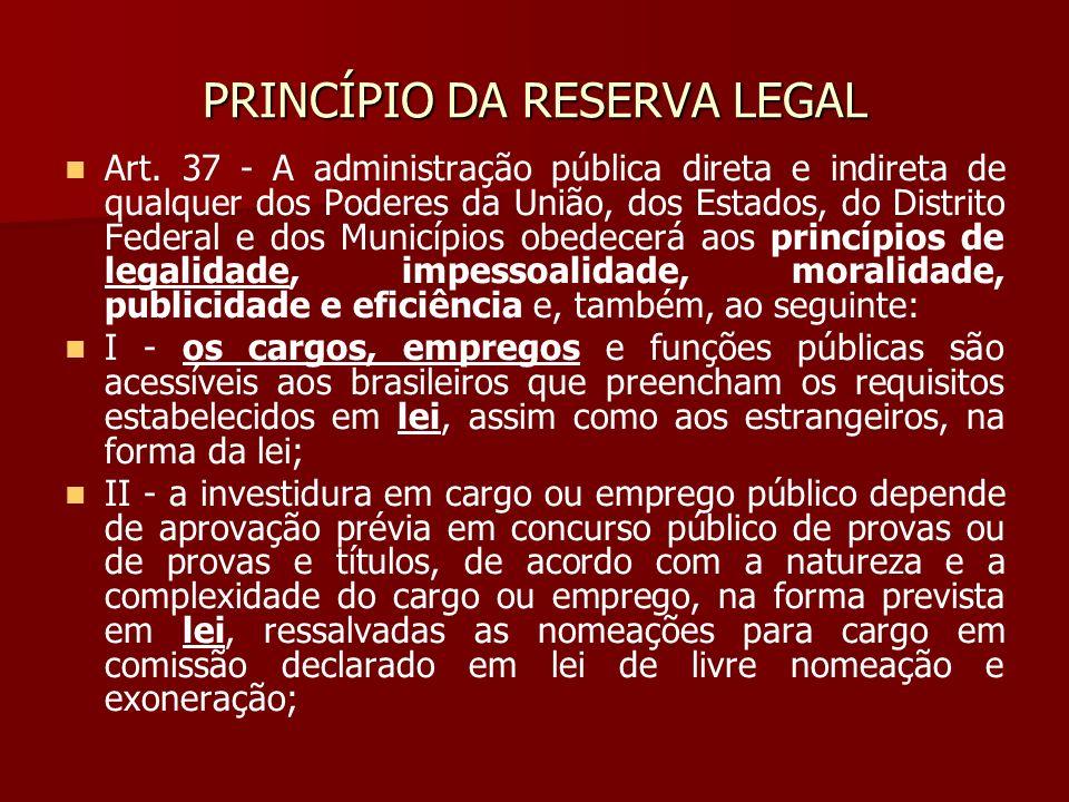 PRINCÍPIO DA RESERVA LEGAL Art. 37 - A administração pública direta e indireta de qualquer dos Poderes da União, dos Estados, do Distrito Federal e do