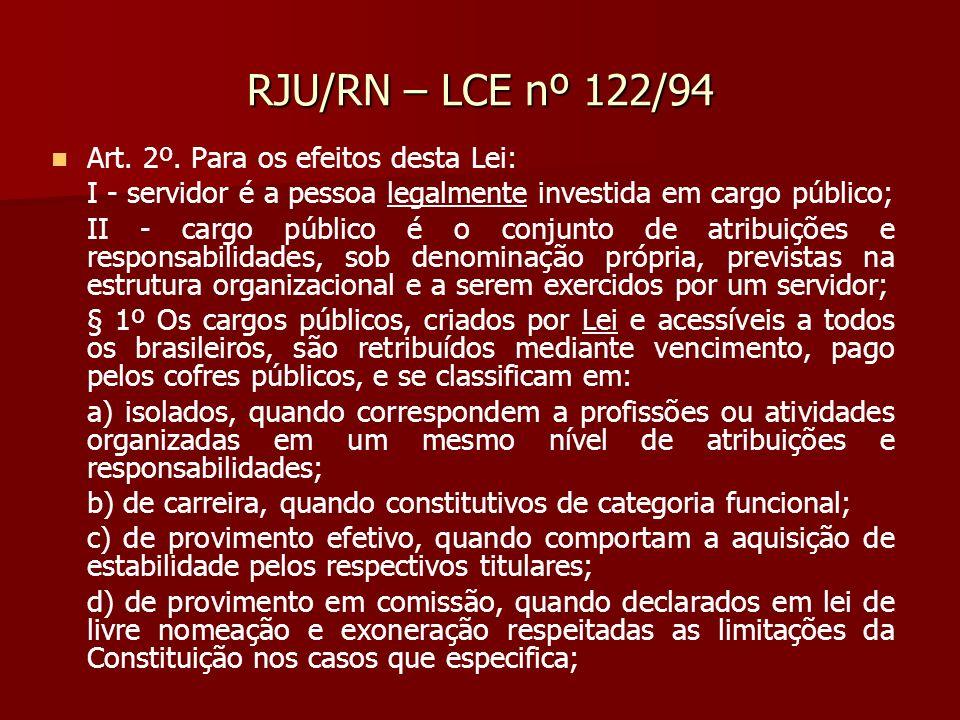 RJU/RN – LCE nº 122/94 Art. 2º. Para os efeitos desta Lei: I - servidor é a pessoa legalmente investida em cargo público; II - cargo público é o conju