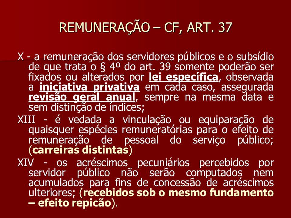 REMUNERAÇÃO – CF, ART. 37 X - a remuneração dos servidores públicos e o subsídio de que trata o § 4º do art. 39 somente poderão ser fixados ou alterad