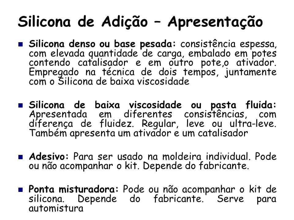 Silicona de Adição – Apresentação Silicona denso ou base pesada: consistência espessa, com elevada quantidade de carga, embalado em potes contendo cat