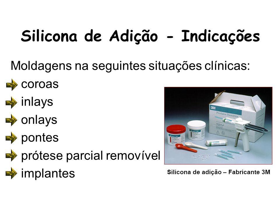 Silicona de Adição - Indicações Moldagens na seguintes situações clínicas: coroas inlays onlays pontes prótese parcial removível implantes Silicona de