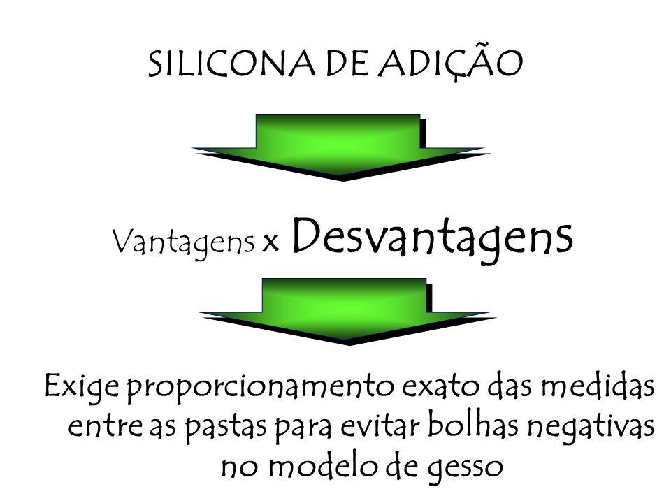 Vantagens x Desvantagen s Exige proporcionamento exato das medidas entre as pastas para evitar bolhas negativas no modelo de gesso SILICONA DE ADIÇÃO
