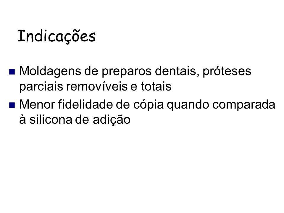 Indicações Moldagens de preparos dentais, próteses parciais removíveis e totais Menor fidelidade de cópia quando comparada à silicona de adição
