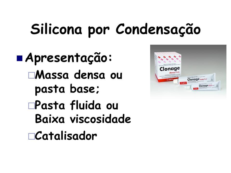 Silicona por Condensação Apresentação: Massa densa ou pasta base; Pasta fluida ou Baixa viscosidade Catalisador
