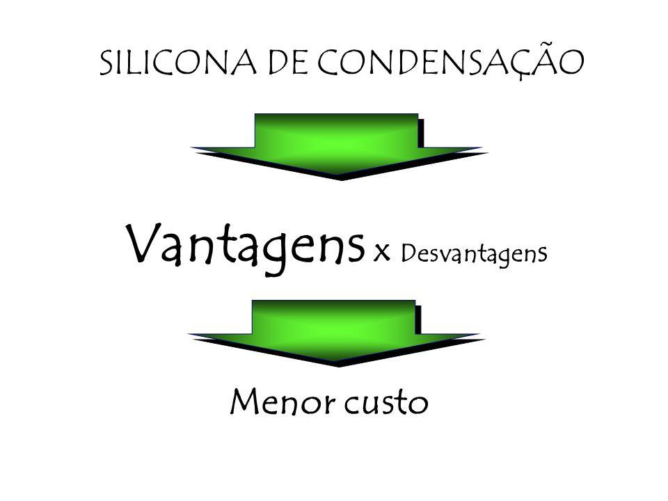 Vantagens x Desvantagen s Menor custo SILICONA DE CONDENSAÇÃO