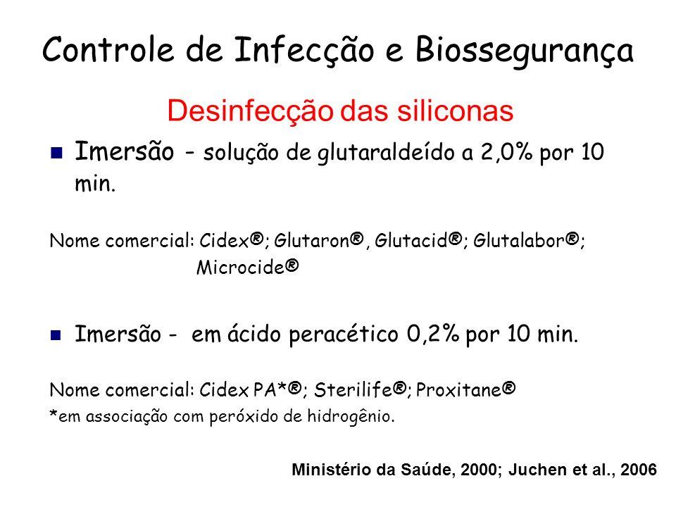 Controle de Infecção e Biossegurança Desinfecção das siliconas Imersão - solução de glutaraldeído a 2,0% por 10 min. Nome comercial: Cidex®; Glutaron®