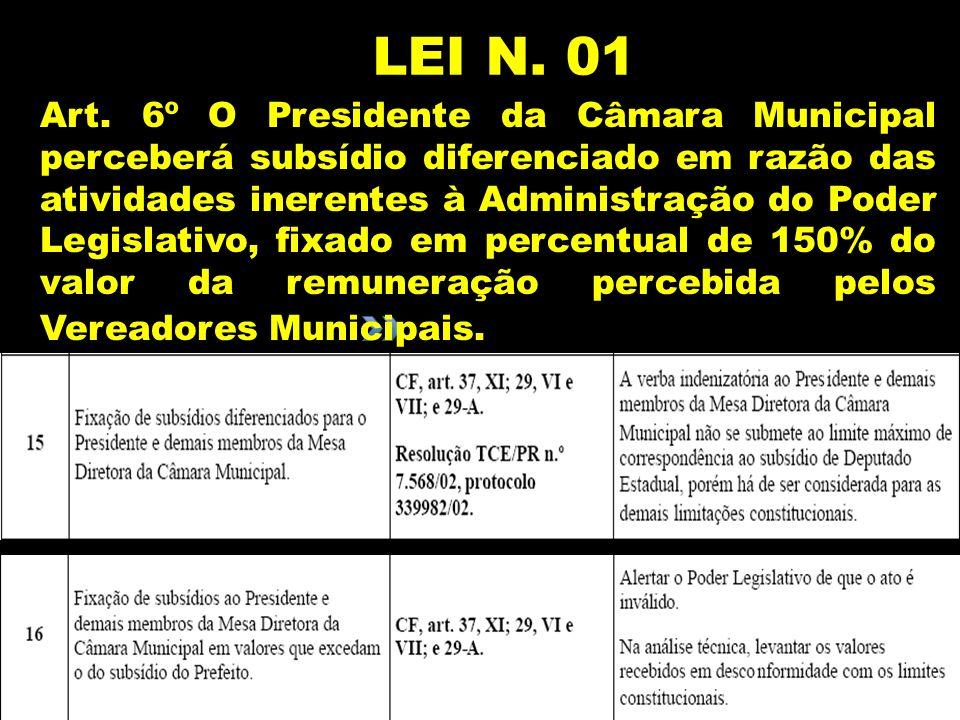 LEI N. 01 Art. 6º O Presidente da Câmara Municipal perceberá subsídio diferenciado em razão das atividades inerentes à Administração do Poder Legislat