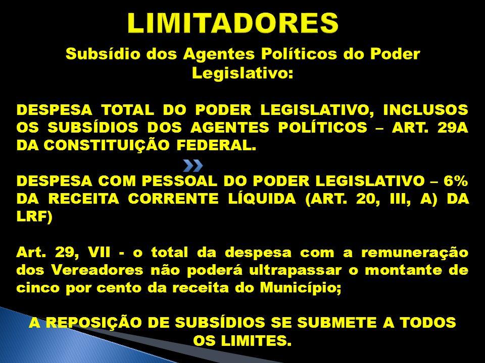 LIMITADORES Subsídio dos Agentes Políticos do Poder Legislativo: DESPESA TOTAL DO PODER LEGISLATIVO, INCLUSOS OS SUBSÍDIOS DOS AGENTES POLÍTICOS – ART