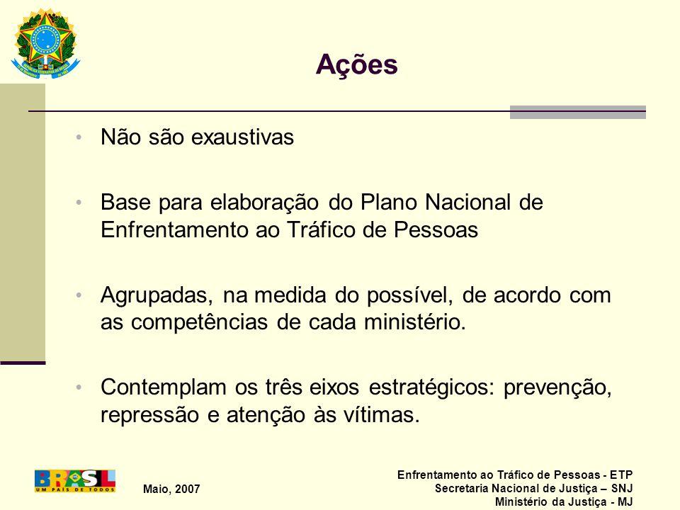Maio, 2007 Enfrentamento ao Tráfico de Pessoas - ETP Secretaria Nacional de Justiça – SNJ Ministério da Justiça - MJ Ações Não são exaustivas Base par
