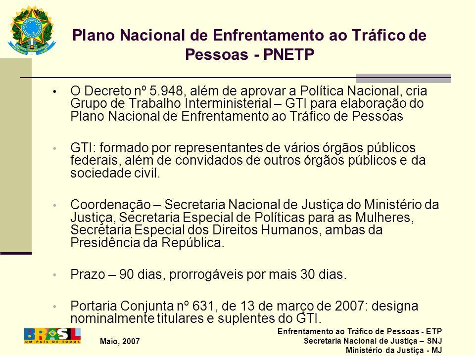 Maio, 2007 Enfrentamento ao Tráfico de Pessoas - ETP Secretaria Nacional de Justiça – SNJ Ministério da Justiça - MJ Plano Nacional de Enfrentamento a