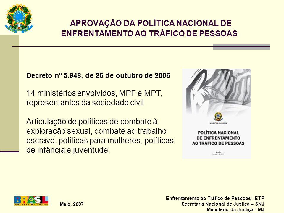 Maio, 2007 Enfrentamento ao Tráfico de Pessoas - ETP Secretaria Nacional de Justiça – SNJ Ministério da Justiça - MJ APROVAÇÃO DA POLÍTICA NACIONAL DE