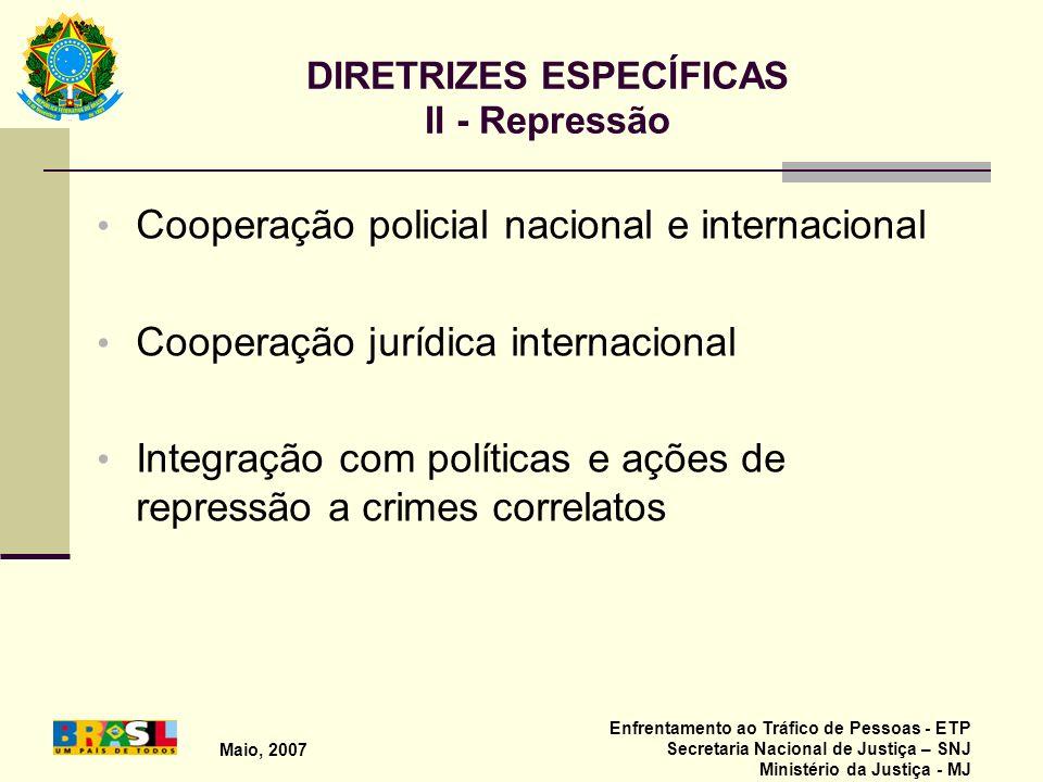 Maio, 2007 Enfrentamento ao Tráfico de Pessoas - ETP Secretaria Nacional de Justiça – SNJ Ministério da Justiça - MJ DIRETRIZES ESPECÍFICAS II - Repre