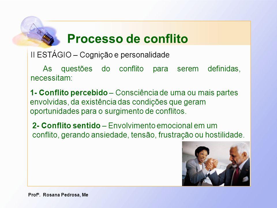 Profª. Rosana Pedrosa, Me II ESTÁGIO – Cognição e personalidade As questões do conflito para serem definidas, necessitam: Processo de conflito 2- Conf