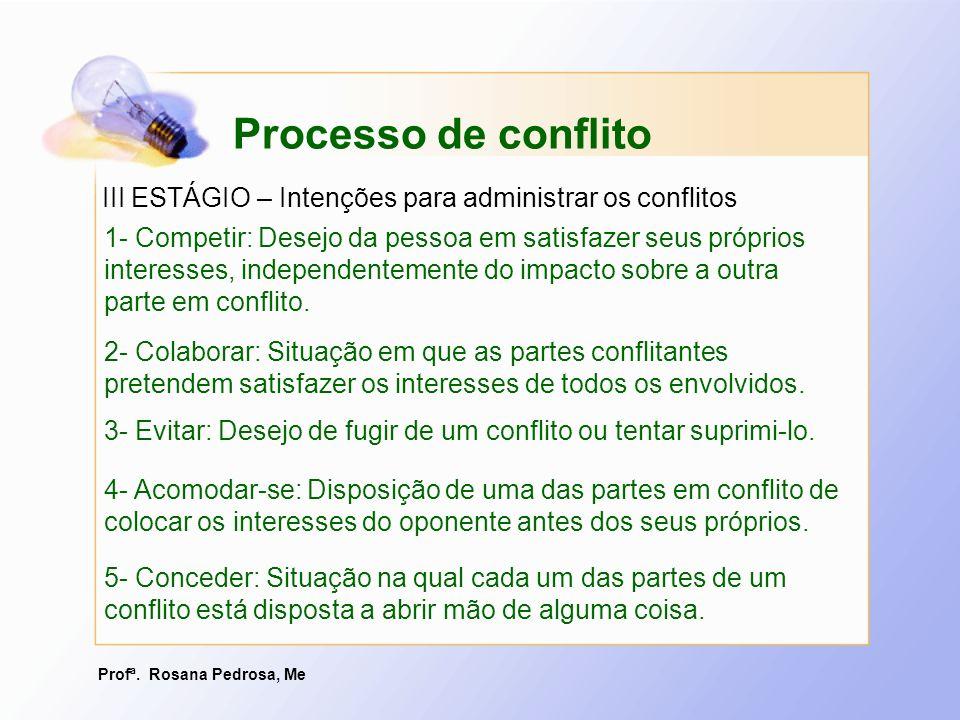 Profª. Rosana Pedrosa, Me 5- Conceder: Situação na qual cada um das partes de um conflito está disposta a abrir mão de alguma coisa. Processo de confl