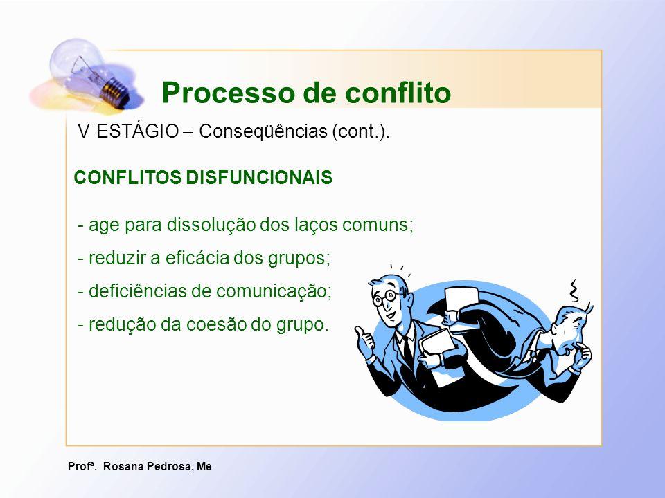 Profª. Rosana Pedrosa, Me - age para dissolução dos laços comuns; - reduzir a eficácia dos grupos; - deficiências de comunicação; - redução da coesão