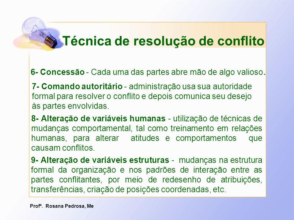 Profª. Rosana Pedrosa, Me 8- Alteração de variáveis humanas - utilização de técnicas de mudanças comportamental, tal como treinamento em relações huma