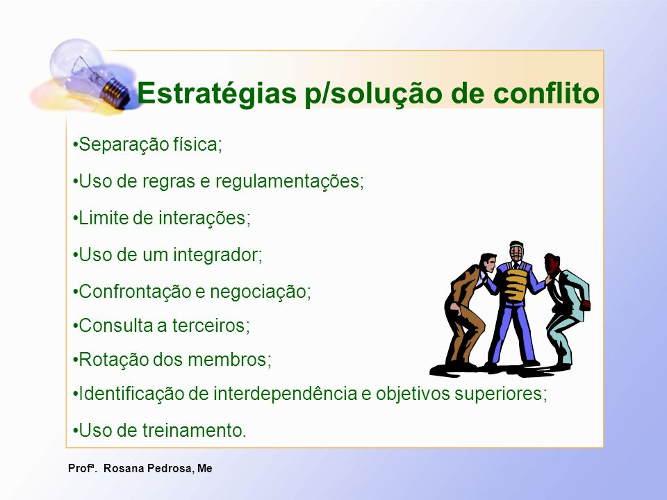 Profª. Rosana Pedrosa, Me Estratégias p/solução de conflito Separação física; Uso de regras e regulamentações; Limite de interações; Uso de um integra