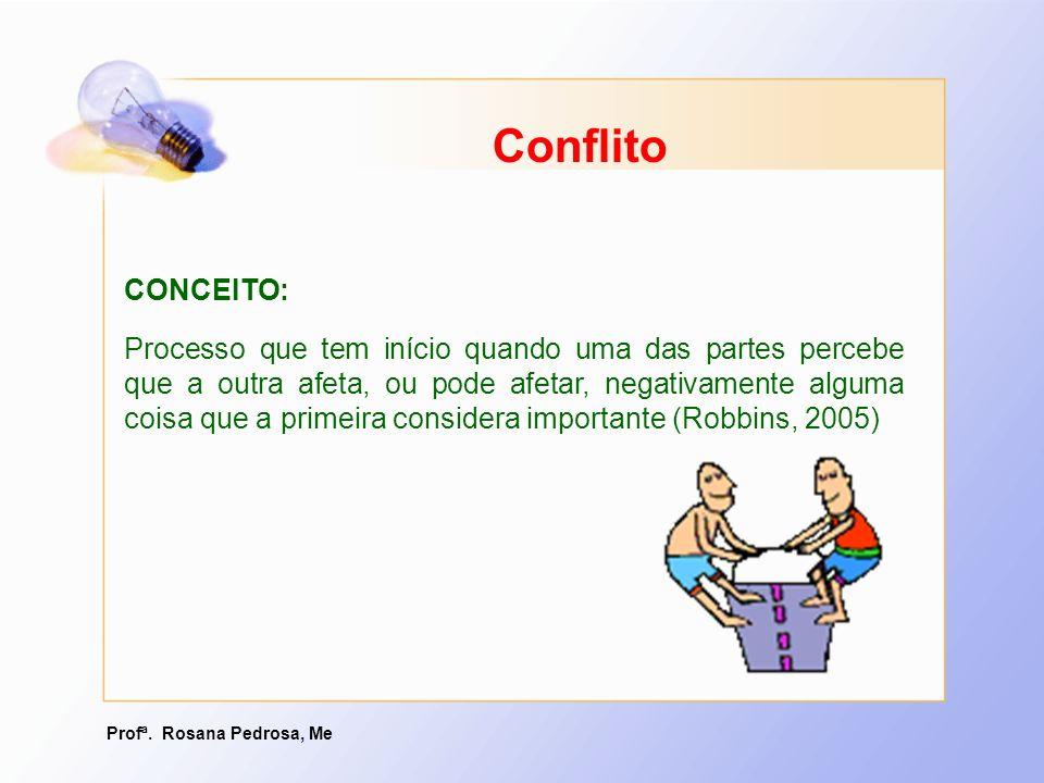 Profª. Rosana Pedrosa, Me Conflito CONCEITO: Processo que tem início quando uma das partes percebe que a outra afeta, ou pode afetar, negativamente al