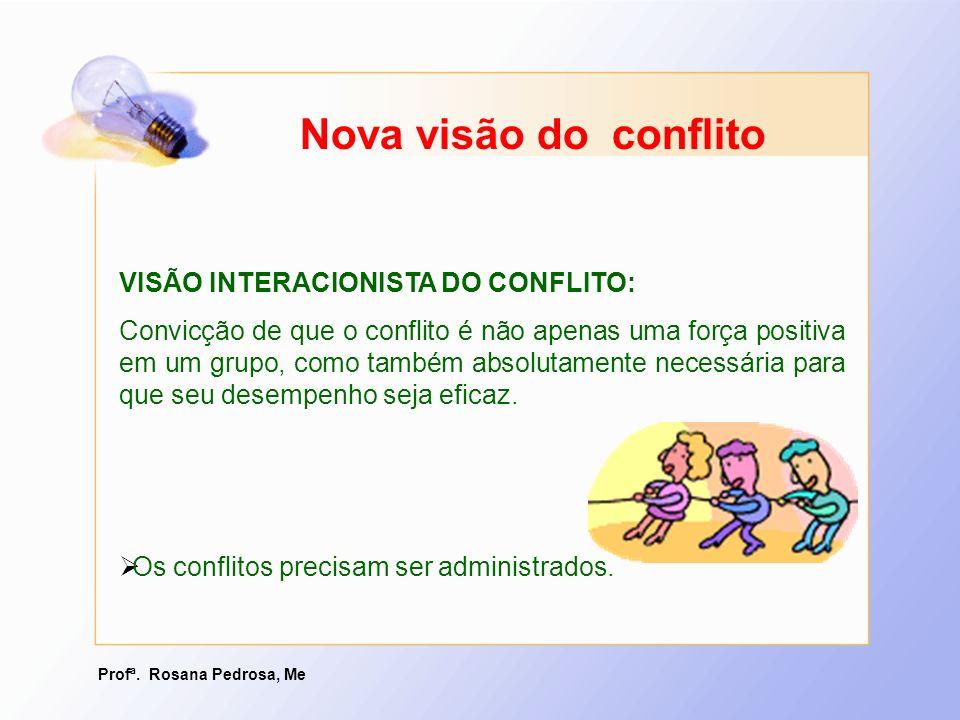 Profª. Rosana Pedrosa, Me VISÃO INTERACIONISTA DO CONFLITO: Convicção de que o conflito é não apenas uma força positiva em um grupo, como também absol