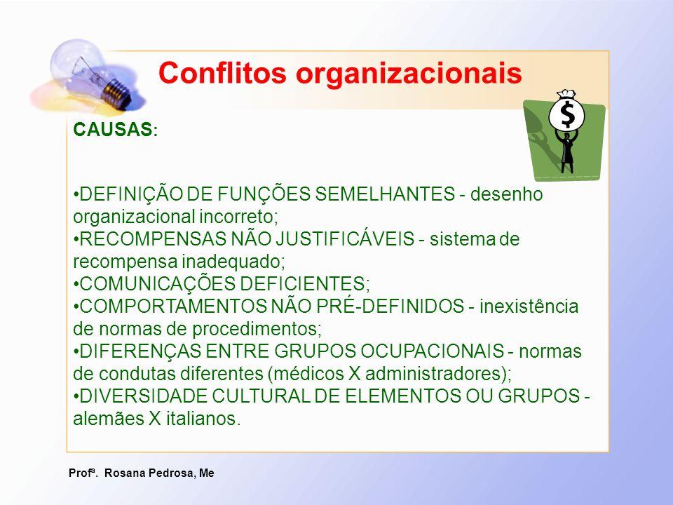 Profª. Rosana Pedrosa, Me Conflitos organizacionais CAUSAS : DEFINIÇÃO DE FUNÇÕES SEMELHANTES - desenho organizacional incorreto;DEFINIÇÃO DE FUNÇÕES